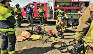 More than 50 firefighters got the chance to complete state training Saturday in the parking lot outside of the vacant Shopko store in Bowman.